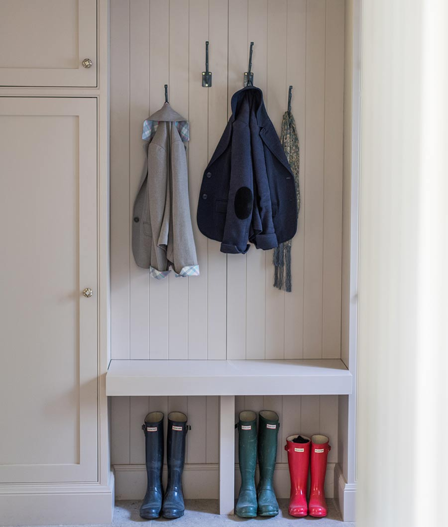 North Down Manor House cloakroom with coasts and wellington boots