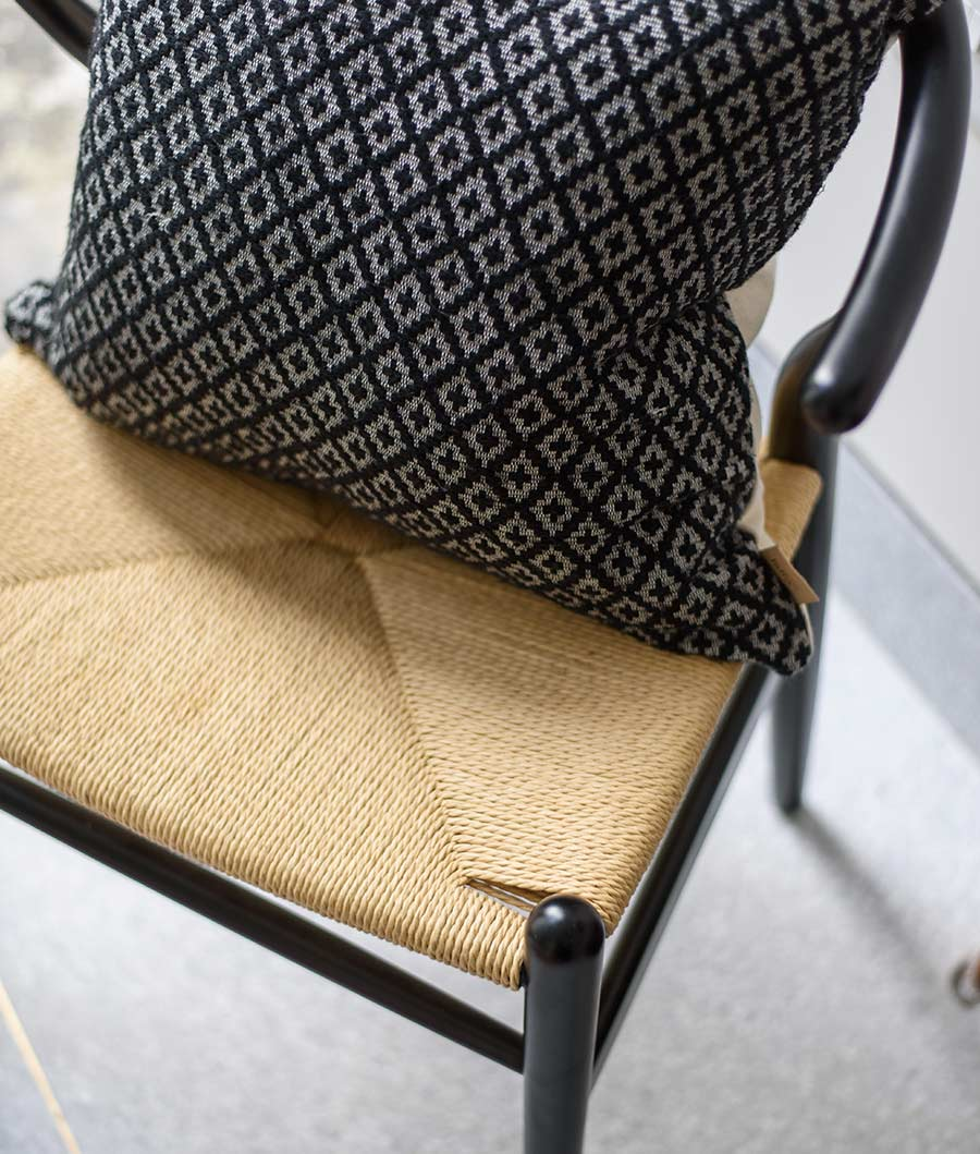 Rattan chair and Lidby Living cushion