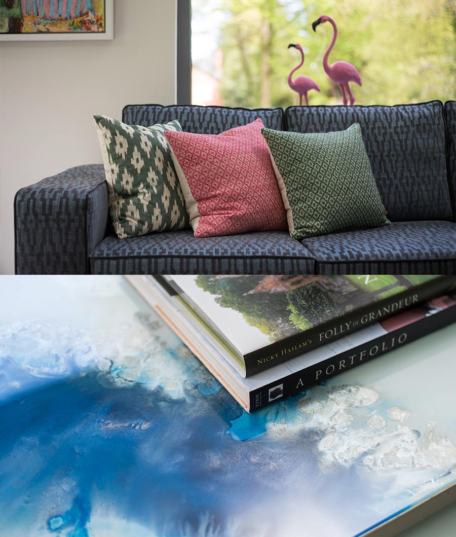 Patterned coffee table with book