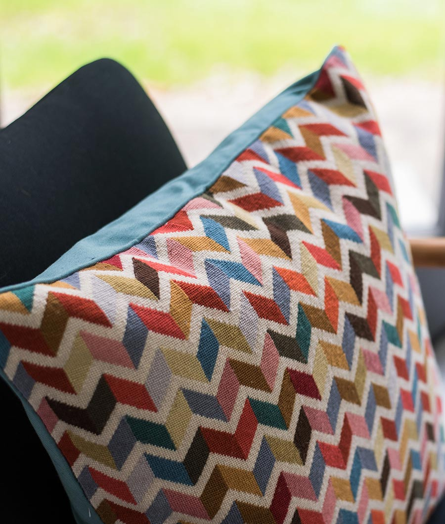 Fabric cushion cover geometric pattern