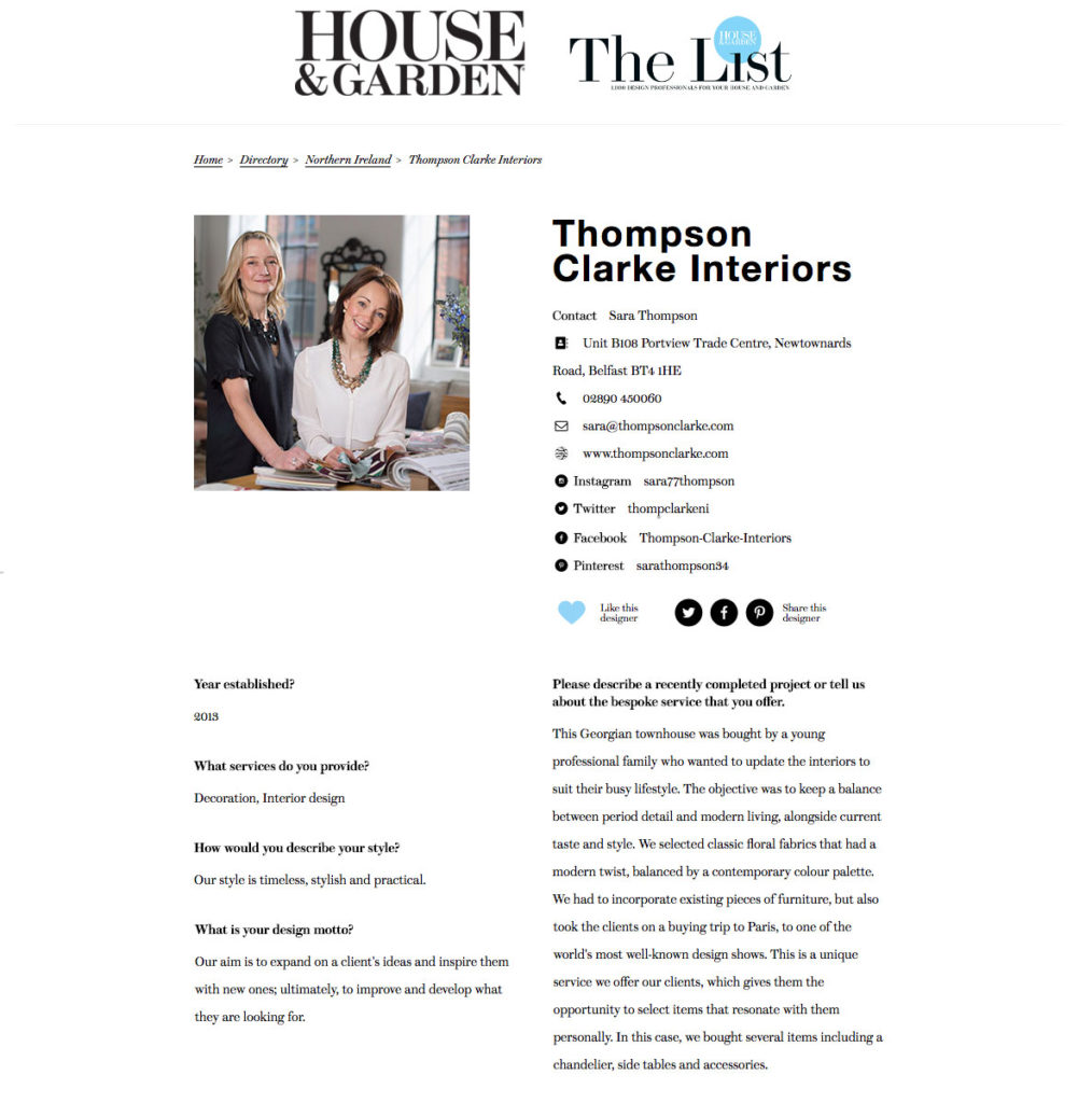 Thompson Clarke Interiors features in House & Garden's 'The List'
