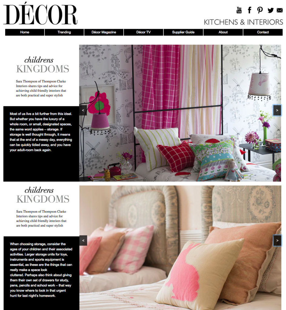 Decorliving.com features Sara Thompson of Thompson Clarke Interiors with tips on how to best design your children's' room.